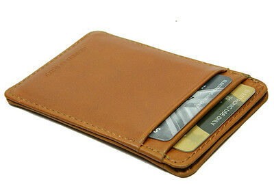 Real Leather Credit Card holder Slim Mini Wallet TAN Men Women photo ID gift NEW