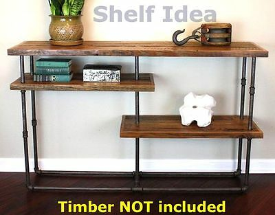 Rustic Industrial Iron Pipe Console Table Shelf Storage Shelving Brackets BS043