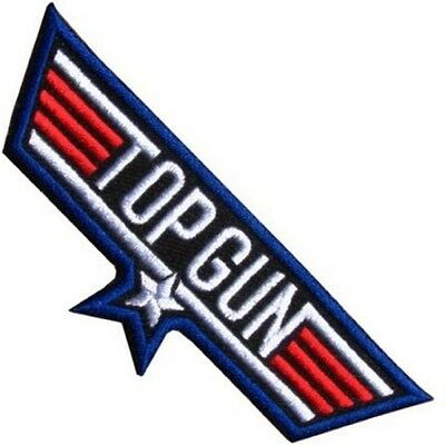 Top Gun USA Navy Fighter Pilot Fancy Dress Embroidered Sew Iron on Badge Patch