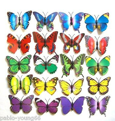 Set 12-24Pcs Handmade Craft Clip On Butterfly Multi-Color Wedding Flower decor