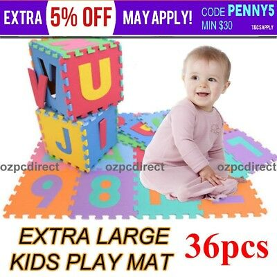 36pcs Kids Baby Alphabet & Number EVA Foam Floor Puzzle Play Mat Rug EXTRA LARGE