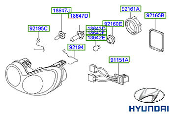 Genuine Hyundai Sonata Headlight LH Passenger - 921033D080
