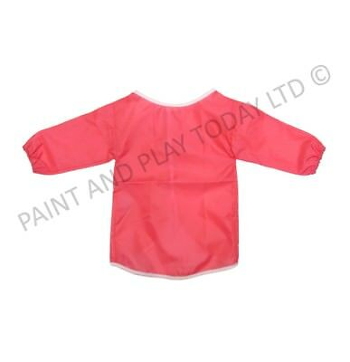Pack of 5 Childrens Kids Aprons Smock Painting Art Craft - Pink - Choose Size
