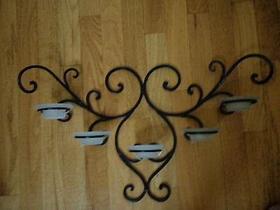 Wall decor cast iron 5 arm candelabra with hat shape frosted cups candle holder