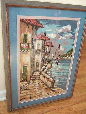 Complete cross Stitch View of a house by the lake, with sailing boat (Reduced