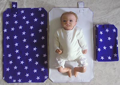 HAND MADE BABY TRAVEL CHANGING MAT - Royal Blue With White Stars