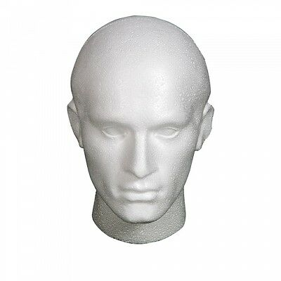 Polystyrene White Male Display Head Mannequin For Wig X 6