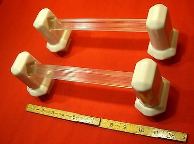 """Vintage… White Porcelain…Towel Bar Brackets...Two pairs with 24"""" poles"""
