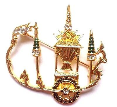 Chariot Thai Fine Art Alloy Crystal Brooch Jewelry Costume  With Hanger Gift Box
