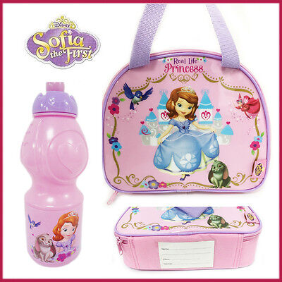 Sofia The First Picnic Insulated Lunch Bag Bottle Pink Disney Princess School