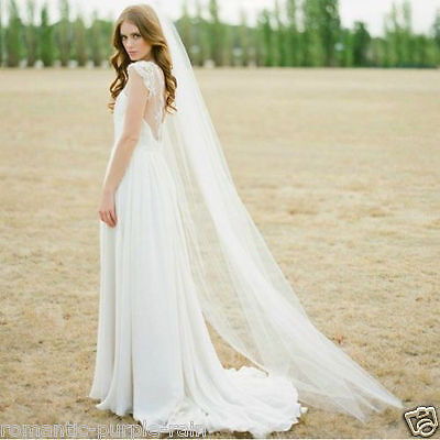 New 1T Wedding veil White/Ivory Bridal Veil Cathedral vail  Long 200CM With Comb