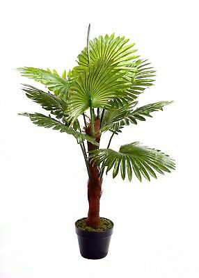Best Artificial 4ft 120cm Fan Palm Tree Tropical Office Plant conservatory new