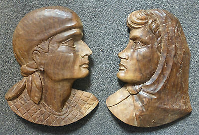 Pair Of Wall Hanging Wooden Hand Carved Eastern European Face Plaque Man & Woman