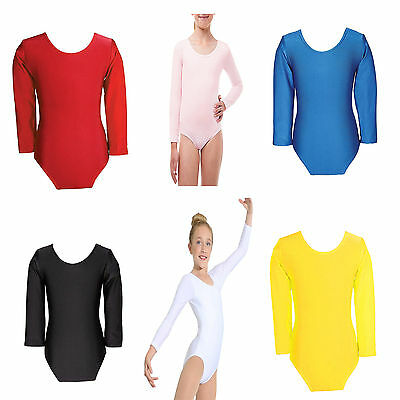 New Girls Uniform Leotard Dance Gymnastics Ballet Long Sleeve Leotards