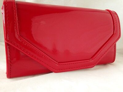 918a4c7dbe75b New Red Faux Patent Leather Evening Day Clutch Bag Wedding Prom Party
