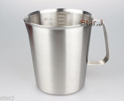 Measure Cup Mix Stir Pourer Frothing Pitcher 48oz 1500ml Stainless Steel Kitchen
