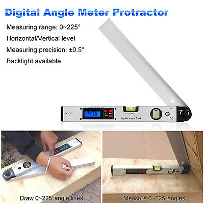 Digital LCD Screen Angle Finder Protractor Spirit Level Measuring Tool 0~225°