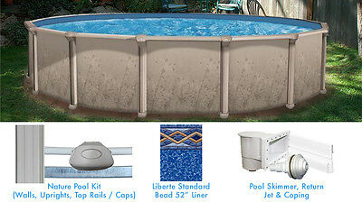 Nature 18 ft Round Above Ground Swimming Pool with Liner and Skimmer