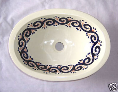 Ceramic SMALL Handpainted Drop in Sink Mexican  # 70