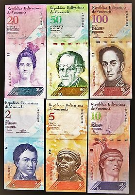 6 Venezuela banknotes, 2,5,10,20,50,100 Bolivares, UNC currency-Free shipping