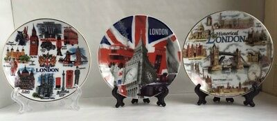 3 X London Souvenir Ceramic Decoration Plates With Display Stand  Size 10 CM