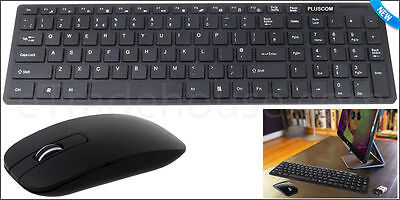 NEW Slim White 2.4G Wireless Keyboard and Cordless Optical Mouse Combo For PC UK