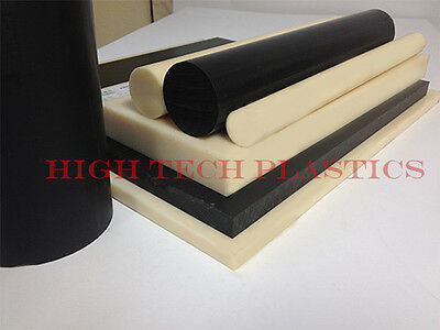 """2"""" Diameter Black Color ABS Plastic Round Rod 12 Inch Lengths 1ft"""