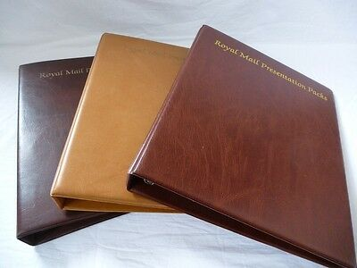Royal Mail Presentation Pack, Luxury Padded 4 Ring Albums In Various Colours
