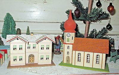 REDUCED 50%! Antique Dresden Pressed-Paper Church & Parsonage, Germany, c1930s