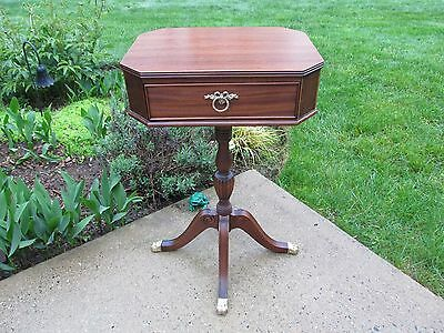 Mahogany End / Side Table Turned Center Pedestal Brass Claw Feet