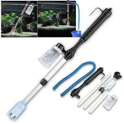 Fish Tank Aquarium Battery Automatic Vacuum Gravel Water Filter Clean Accessory