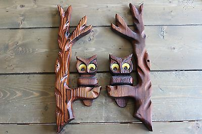 Vintage Mid Century Owl Wall Decor Hanging