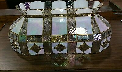 Vintage Stain glass Stained  Hanging Ceiling iridescent Light fixture