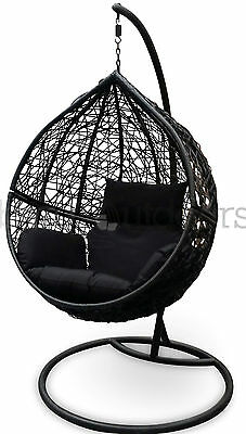 Outdoor Swing Hanging Egg/ Pod Chair - Black Wicker with Black Cushions