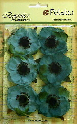 TEAL Fabric 6 Flowers ANENOME Black Centre approx 55mm across Petaloo