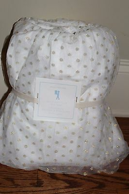 NWT Pottery Barn Kids Gold Dot Tulle twin bed skirt polka