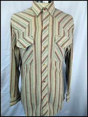 Vintage 70s Brown Green Striped Cotton New Breed Western Shirt Snap Buttons S/M