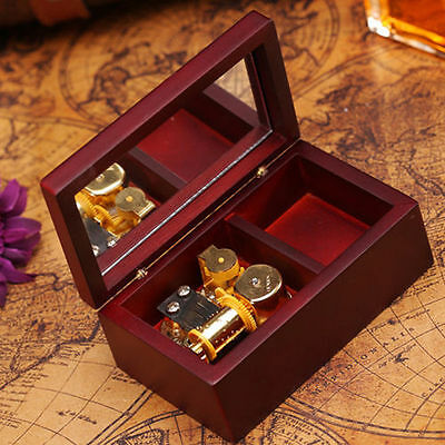 Rectangle Wood Jewelry Wind Up Music Box  : Beauty And The Beast