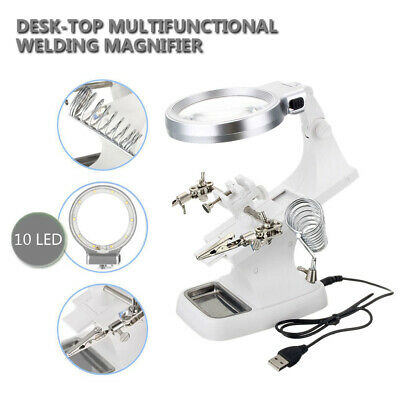 5 Led Helping Hand Clip Led Magnifying Soldering Iron Stand Magnifier Clamp Au