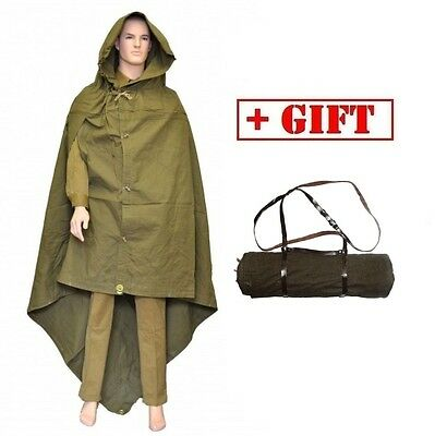 Cloak tent russian soviet ussr army soldier military poncho hooded raincoat+belt