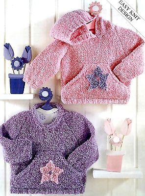 (755) DK Knitting Pattern for Child's Easy Knit Sweaters, 16-26''