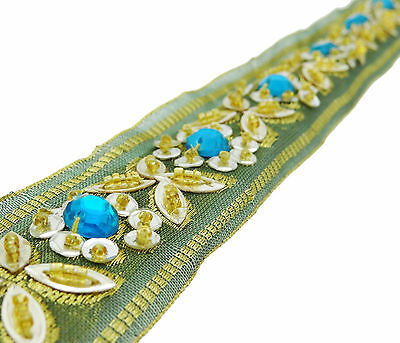 Vintage Indian Sari Border Used Woven 1YD Trim Sewing Used Green Ribbon Lace