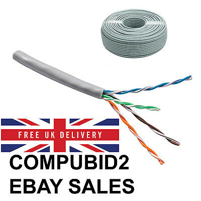 New Reel Rj45 Cca Ethernet Cable Network Lan Solid Utp Cat5E Grey 100M Fast Post