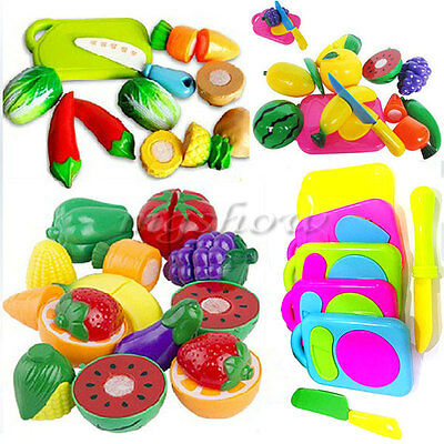 6x Kid Child Pretend Role Play Kitchen Fruit Vegetable Food Toy Gift Cutting Set