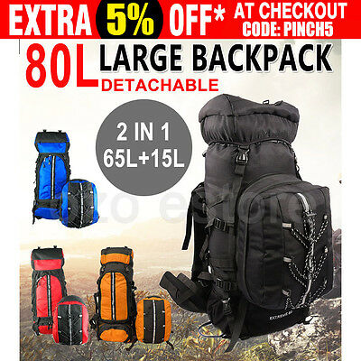 80L Waterproof Outdoor Backpack Camping Hiking Travel Large Rucksack Bag Luggage