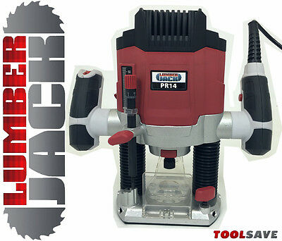 "Lumberjack TRADE 1200W 1/4"" Electric Variable Speed Plunge Router 240v 3 Collets"