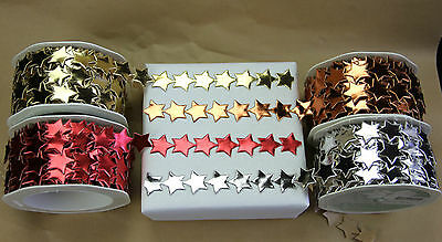 10 M ROLL SELF ADHESIVE Christmas Star Ribbon Metallic Silver Gold Red or Copper