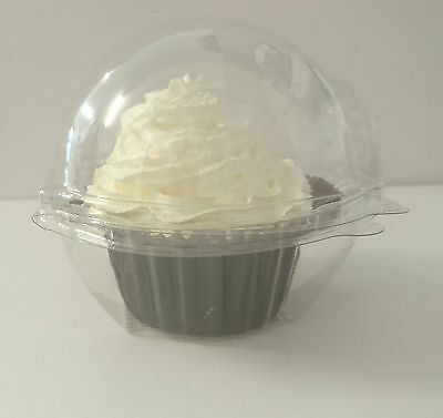 12 x individual clear hinged cupcake/muffin clam pods - large cake holders