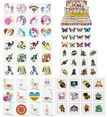 Kids Temporary Tattoos 36 - Party Bag Filler Boys Girls UNICORN FOOTBALL etc