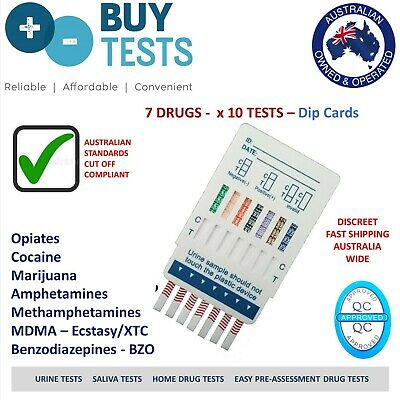 Urine drug test kit, dip card, 7 drugs (x10) - Meth, Amp, BZO,THC, COC,OPI,MDMA
